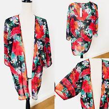 Ladies DEBENHAMS Bolero Kimono Shrug Flower Parrot Print Size 12 Wrap Summer £26