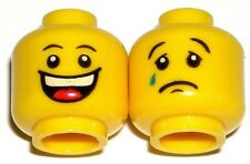 LEGO 2 Yellow CITY HAPPY SAD MINIFIGURE HEADS Smile Tear Jester 10216