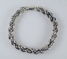 """Solid Sterling Silver 925 7 mm Rope Chain 7"""" Bracelet 30 g"""