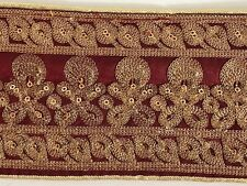 ATTRACTIVE INDIAN GOLD AARI WORK FLORAL EMBROIDERY ON MAROON  TRIM/LACE-ONE MTR