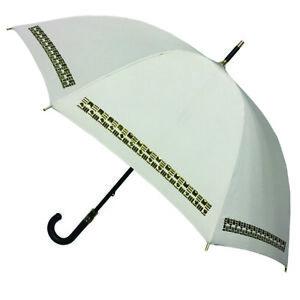 Badgley Mischka Beige Auto Open Stick Umbrella Leather Handle NEW