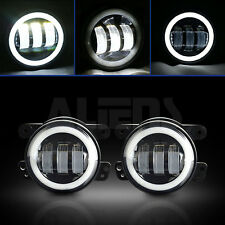 "Pair of 4"" Round LED Fog Light Auxiliary DRL Halo Lamp for Harley Motorcycle"
