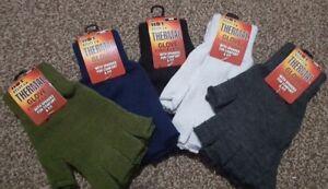Adults Mens Plain Thermal Fingerless Knitted Winter Warm Half Finger Gloves