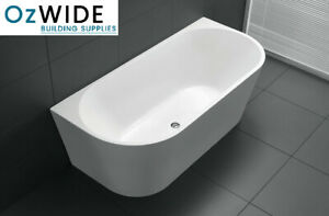 1400 mm Back To Wall Free Standing Bath Tub Acrylic Freestanding Round Front NEW