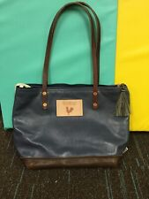 Leather Shoulder Bag Blue With Fabric Lining Meanwhile Back On The Farm
