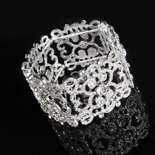 Art Deco Bridal Crystal Bracelet Rhinestone Beaded Bangle Diamante for Wedding
