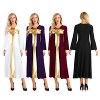 Women Bell Long Sleeve Metallic Praise Cross  Loose Fit Liturgical Dance Dresses