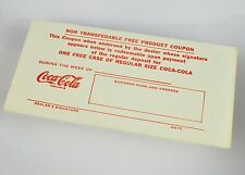 Bel età Coca-Cola Coke coupon-USA circa 1950er ROSSO BIANCO-ONE FREE CASE