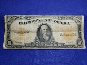 1922 $10 Dollar Large Size Gold Certificate - GOOD