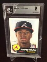 2018 Topps Living Ronald Acuna Jr. Rookie Mint BGS 9 Braves #19 RC Damaged Case