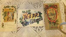 lot 3 Antique Christmas Post Card glitter embossed 1910 Tucks Nevada City  Holly