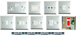 Volex Polished Chrome 1G/2G/Spur Light Switch Double Socket White Inserts