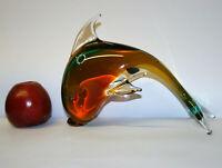 "Murano Art Glass Dolphin Sculpture by V. Nason & C. Sommerso Cased Glass 8.5"" J6"