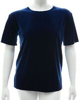 Womens size 16 - 24 stretch plain Blue velvet tunic top new ladies plus size