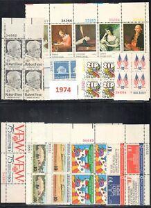 USA 1974 MNH 20 Plate Blocks