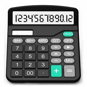 Solar Electronic Desk Calculator Extra Large Display Business Battery 12 Digit