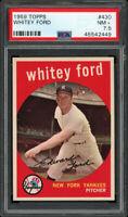 1959 TOPPS #430 WHITEY FORD (HOFer) NEW YORK YANKEES PSA 7.5 NM+ Centered