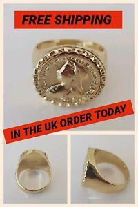 18K Ring Gold Plated 4 Sizes Sovereign Style Medallion in UK Seller - Very Rare