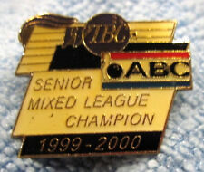 """1999-00 WIBC/ABC SR. MIXED LEAGUE CHAMPION"" METAL/ENAMEL PUSH-BACK BOWLING PIN"