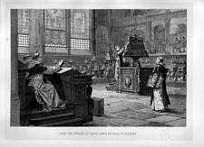 Stampa antica FIRENZE Santa Maria Novella coro monaci 1876 Old print Florence