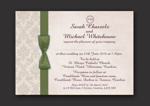 PERSONALISED WEDDING AND/OR EVENING INVITATIONS -  SAGE IVORY DAMASK G