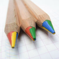 3 x Lyra 4 Colour Giant Super Jumbo Colouring Pencils Natural Wood Finish
