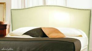 Classic King, Bone Genuine Leather Headboard for bed w/ Distressed Nail Heads