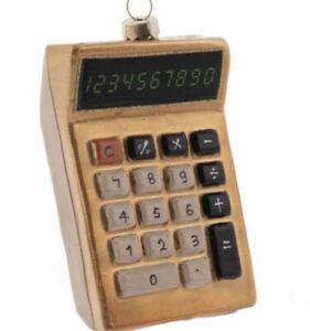 Gold Calculator Glass Ornament Rich Luxury Bling Bank Math School Kids Vintage