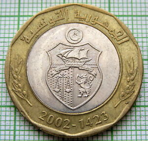 TUNISIA 2002 - AH 1423 5 DINARS, Habib Bourguiba, BI-METALLIC