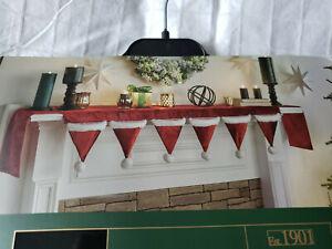 "NWT H&G Christmas Santa Hat Mantel Scarf  Fireplace 84"" x 20.5""   NEW"