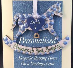 Grandson's First Birthday Keepskake On A Greetings Card Personalised