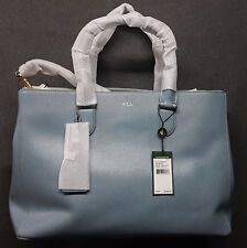 Ralph Lauren Newbury Double Zip Satchel Bag Cameo Blue Agsbeagle