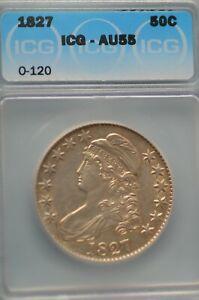 1827 ICG AU55 Capper Bust Half Dollar  (O-120)  Item # 3097