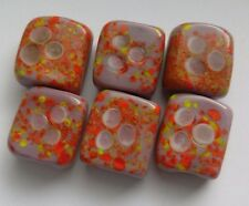 6  Patterned Handmade Lampwork Beads, Lilac/Orange/Yellow. Jewellery/Crafts