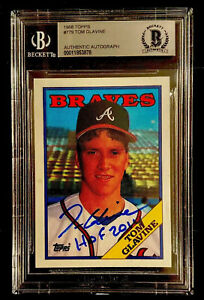 1988 Topps Tom Glavine Rookie Signed. Braves auto. Autograph Card BGS  NM-MT+