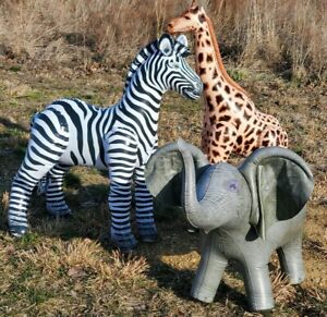 Jet Creations Safari 3 Pack Giraffe Zebra Elephant Great for Pool and Party Deco