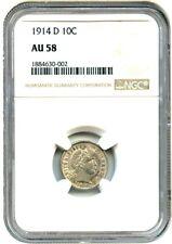 1914-D 10c NGC AU58 - Barber Dime