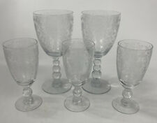 Vtg Mixed Set Of 5 Duncan Miller First Love? Etched Cordial / Wine Glasses