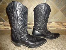 Womens #10670 Sz 8M Black Leather Cowboy Boots