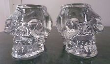 Large Clear Glass SKULL Candle/Votive Holders - Set of 2