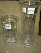 YANKEE CANDLE VOTIVE HOLDER FILLABLE CYLINDER CRACKLE GLASS SET SEA SHELL FILLED