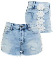 Womens Distressed Pearl Denim Shorts Rips Floral Short Size 6 8 10 12 14 Blue