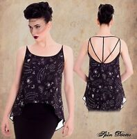 Black Ouiji Layered Top  XS S M L XL Pentagram Witch SPIN DOCTOR