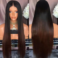 Ombre Brown Brazilian Virgin Full Lace Human Hair Front Lace Wigs Long Straight