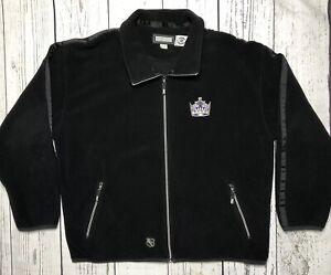 CCM NHL Hockey Los Angeles Kings Fleece Jacket Full Zip Black size  XL 1735