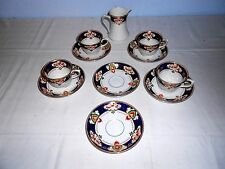 """Antique Coronation Ware """"Wye"""" Pattern Cups and Saucers (4 Sets) w/Creamer"""