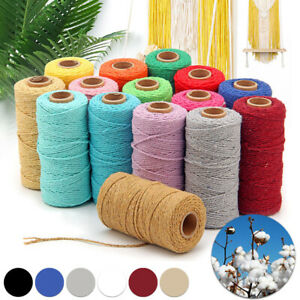 3mm 200m Natural Cotton Twisted Cord Craft Macrame Artisan Rope Craft String AU
