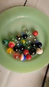 26 VARIOUS PATTERNS GLASS MARBLES