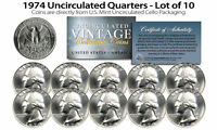 1974 US MINT QUARTERS Uncirculated Coins from U.S. Mint Cello Packs (QTY 10)