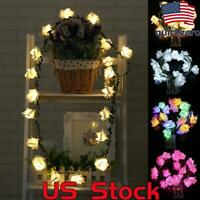 Rose Flower String Light Leaf Garland Battery Operated LED Fairy String Lights